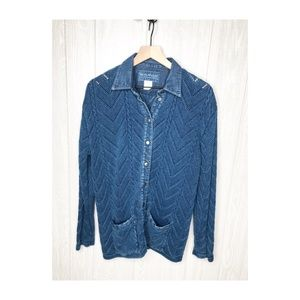 Blue Willi's Sweater Button Up MED